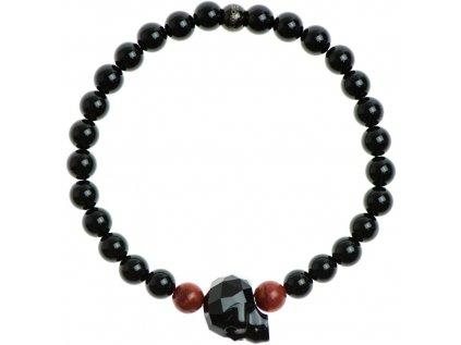 Glosery náramok s lesknúcim krištáľom v tvare lebky od Swarovski®, červený korál a lesklý / matný čierny achát 6-8mm
