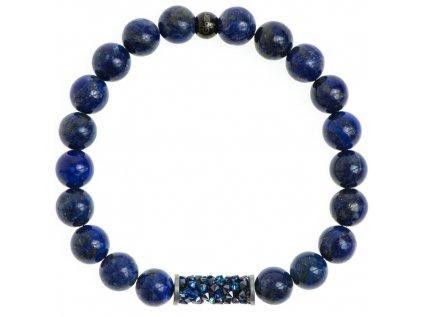 Glosery náramok s lesknúcim valčekom od Swarovski®, lapis lazuli 8mm