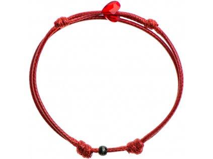 Šnúrkový Glosery náramok s lesknúcim krištáľom v tvare mini srdiečka od Swarovski®, mini šnúrka 1mm, červená šnúrka 1,5mm