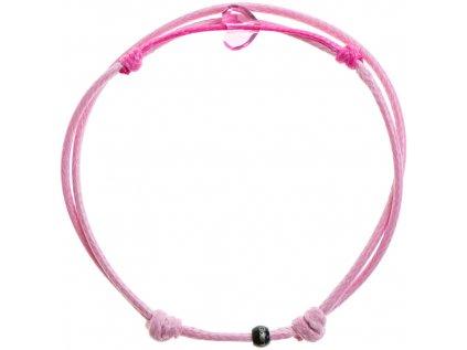 Šnúrkový Glosery náramok s lesknúcim krištáľom v tvare mini srdiečka od Swarovski®, mini šnúrka 1mm, ružová šnúrka 1,5mm