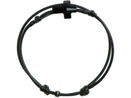 Šnúrkový Glosery náramok s lesknúcim krištáľom v tvare krížika od Swarovski®, mini šnúrka 1mm, čierna šnúrka 1,5mm