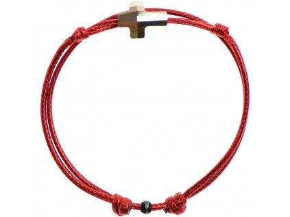 Šnúrkový Glosery náramok s lesknúcim krištáľom v tvare krížika od Swarovski®, mini šnúrka 1mm, červená šnúrka 1,5mm