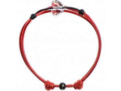Šnúrkový Glosery náramok s lesknúcim krištáľom v tvare srdca od Swarovski®, mini šnúrka 1mm, červená šnúrka 1,5mm