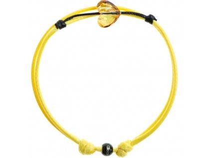 Šnúrkový Glosery náramok s lesknúcim krištáľom v tvare srdca od Swarovski®, mini šnúrka 1mm, žltá šnúrka 1,5mm