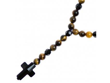 Glosery náhrdelník v tvare ruženca s lesknúcim krížikom a disko guľami od Swarovski®, tigrie oko 6-8mm