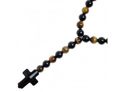 Glosery náhrdelník v tvare ruženca s lesknúcim krížikom od Swarovski®, matný / lesklý achát, tigrie oko 6-8mm