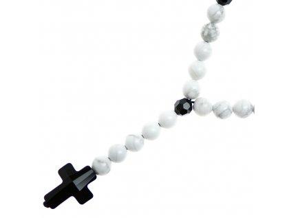 Glosery náhrdelník v tvare ruženca s lesknúcim krížikom a disko guľami od Swarovski®, howlite 6-8mm