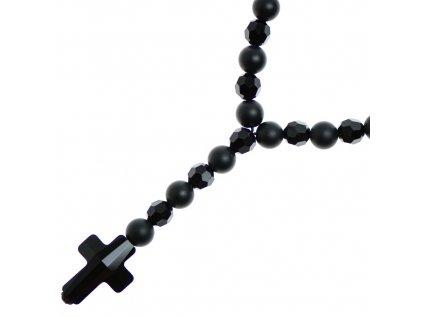 Glosery náhrdelník v tvare ruženca s lesknúcim krížikom a disko guľami od Swarovski®, lesklý / matný čierny achát 6-8mm