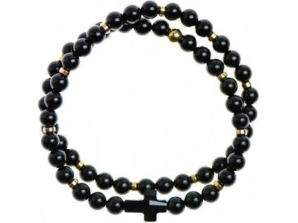 Glosery wrap náramok zdobený krištáľom v tvare krížika od Swarovski®, stopery, lesklý / matný čierny achát 4-6mm