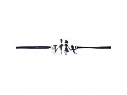 Šnúrkový minimalistický Glosery náramok RODINKA - chirurgická oceľ, šnúrka 0,8mm