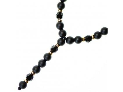 Glosery náhrdelník v tvare ruženca s disko guľami, krížikom od Swarovski®, stopery, lesklý / matný čierny achát 6-8mm