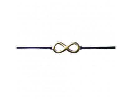 Šnúrkový minimalistický Glosery náramok Nekonečno ∞, chirurgická oceľ, šnúrka 0,8mm