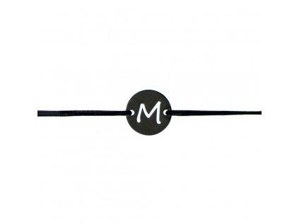Šnúrkový minimalistický Glosery náramok s iniciálami, chirurgická oceľ, šnúrka 0,8mm