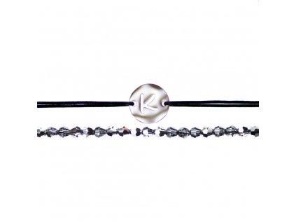 Luxusný set dvoch Glosery náramkov Koliesko s iniciálami a krištále od Swarovski® 3mm, chirurgická oceľ, šnúrka 0,8mm