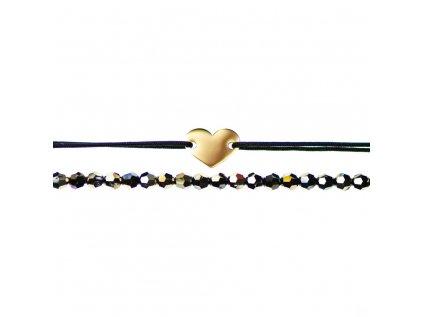 Luxusný set dvoch Glosery náramkov Mini srdiečko a krištále od Swarovski® 4mm, chirurgická oceľ, šnúrka 1mm