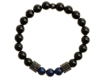 sesthrany so zirkonmi lapis lazuli a leskly cierny achat 8mm