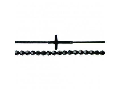 Luxusný set dvoch Glosery náramkov Krížik a krištále od Swarovski® 4mm, chirurgická oceľ, šnúrka 1mm