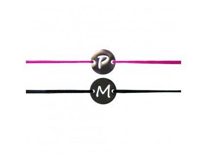 Partnerský šnúrkový Glosery náramok s iniciálmi, chirurgická oceľ, šnúrka 0,8mm