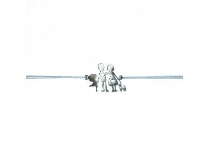 Šnúrkový minimalistický Glosery náramok RODINKA a PES - chirurgická oceľ, šnúrka 1mm