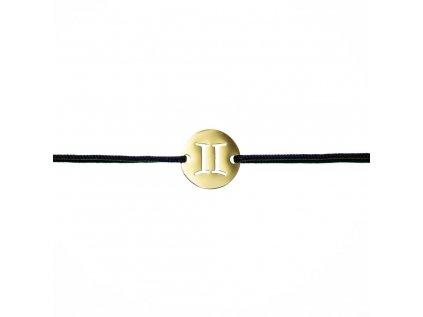 Šnúrkový Glosery náramok so znamením zverokruhu, chirurgická oceľ, šnúrka 1mm