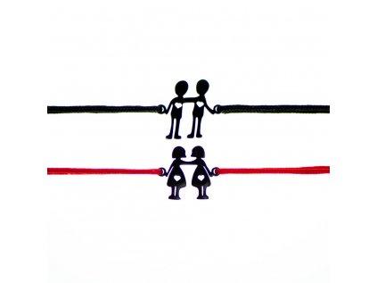 Šnúrkový minimalistický Glosery náramok Postavičky rovnakého pohlavia, DETI, PES - chirurgická oceľ čierna, šnúrka 1mm
