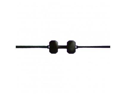Šnúrkový fitness minimalistický Glosery náramok s činkou, chirurgická oceľ, šnúrka 1mm