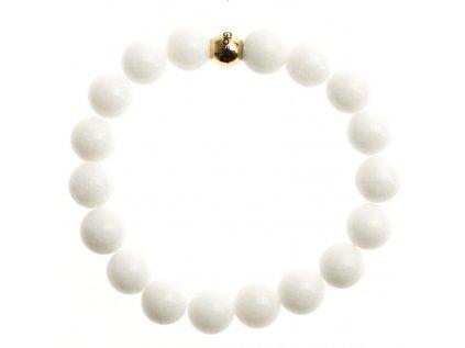 biely porcelan koralka z chirurgickej ocele s logom glosery