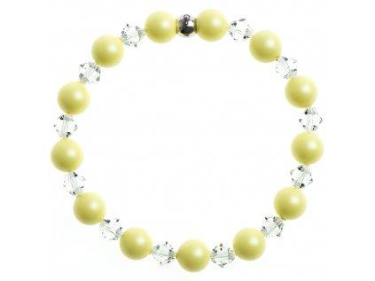 Glosery náramok s perlami a krištáľmi Swarovski®, korálka z pozlátenej chirurgickej ocele