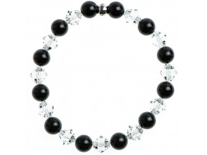 Glosery náramok zdobený krištáľmi Swarovski®, korálka z chirurgickej ocele, lesklý čierny achát 8mm