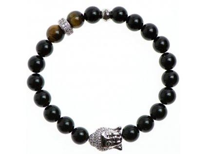 Zirkónový buddha a stoper, tigrie oko a lesklý čierny achát 8mm