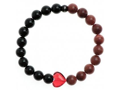 Glosery náramok s lesknúcim krištáľom v tvare srdca od Swarovski®, lesklý čierny achát a červený korál 8mm