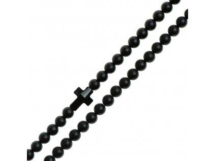 Glosery náhrdelník s lesknúcim krištáľom v tvare krížika od Swarovski®, lesklý / matný čierny achát 6mm