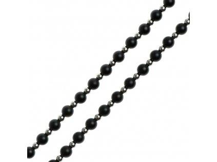 Glosery náhrdelník, chirurgická oceľ 4mm a lesklý / matný čierny achát 4-6mm