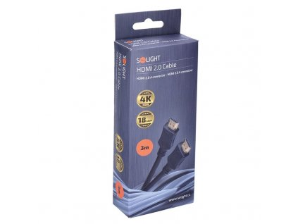 Solight HDMI kabel s Ethernetem, HDMI 2.0 A konektor - HDMI 2.0 A konektor, blistr, 3m