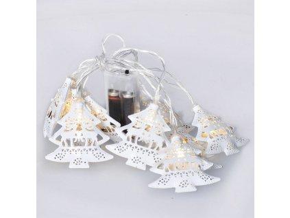 Solight LED řetěz vánoční stromky, kovové, bílé, 10LED, 1m, 2x AA, IP20