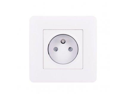 Solight zásuvka Slim PUSH, bezpečnostní posuvný střed, bílá
