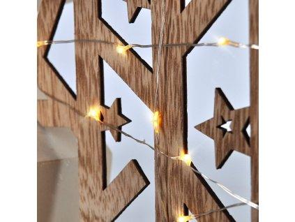 Solight LED vánoční hvězda, přírodní dřevo 2 x AA , teplá bílá