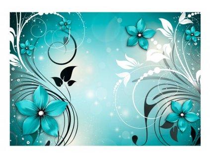 Tyrkysová tapeta s ornamenty