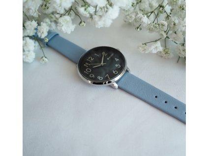 Modré dámské hodinky MINET PRAGUE Black Flower s čísly