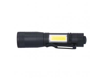 Solight LED kovová svítlna 3W + COB, 150 + 60lm, AA, černá
