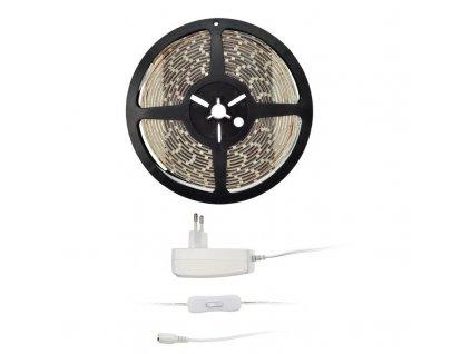 Solight LED světelný pás s testrem, 5m, sada s 12V adaptérem, 4,8W/m, IP65, teplá bílá