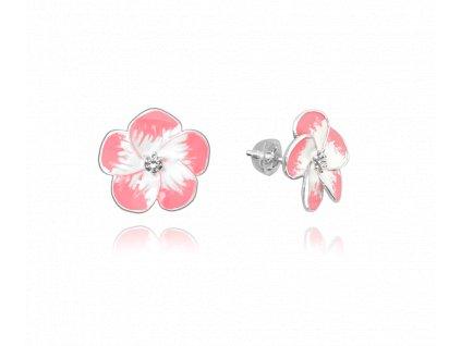 Růžové rozkvetlé stříbrné náušnice MINET FLOWERS se zirkony