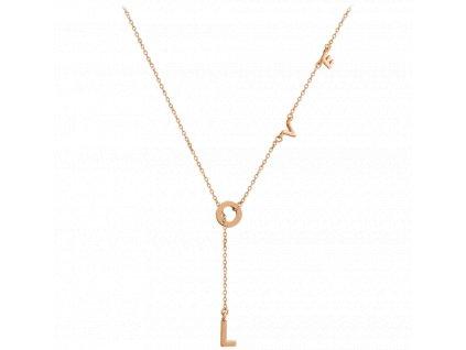 Rose gold stříbrný náhrdelník MINET LOVE
