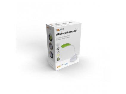 Solight LED stmívatelná lampička 2v1, podstavec i klip, 5W 4000K, 3 barevné kryty
