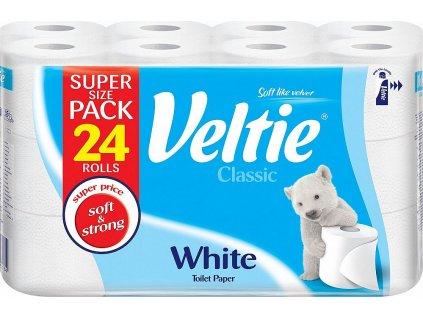 Veltie Classic White 2vrstvý toaletní papír, 24 rolí