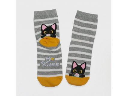 Veselé kočičí ponožky - šedé
