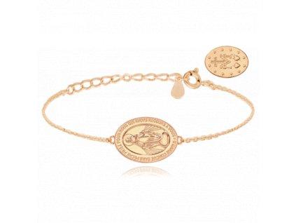 Rose gold stříbrný náramek MINET Zázračná medaile   Medailka Neposkvrněného Početí