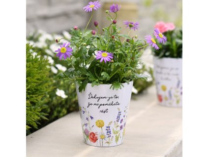Květináč Louka - Děkuji za to, že mi pomáháte růst - Slovenská verze