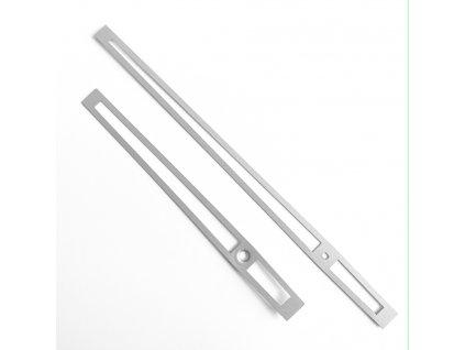 Stříbrné matné vyseknuté hliníkové ručičky na hodiny 168 mm   118 mm