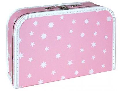 KAZETO Kufr dětský růžový bílé hvězdičky 35x23x11cm šitý lepenkový
